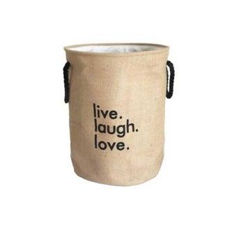 Chiranatda ตะกร้าผ้าทรงกลม live lough love สีเนื้อ01