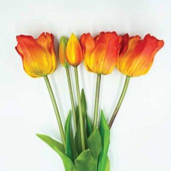 KDD ดอกไม้ประดิษฐ์ #C025ทิวลิปมัดใหญ่ส้ม สีส้ม1