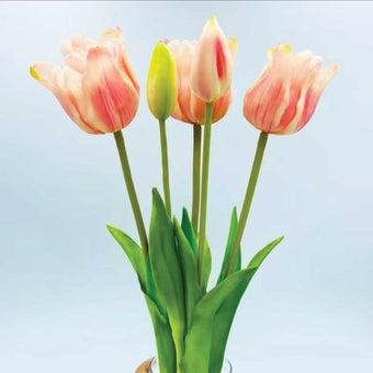 KDD ดอกไม้ประดิษฐ์#C026ทิวลิปมัดใหญ่ชมพู สีชมพู1