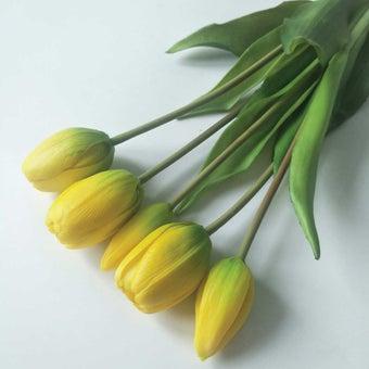 KDD ดอกไม้ประดิษฐ์#C043ทิวลิปมัดเล็กสีเหลือง1