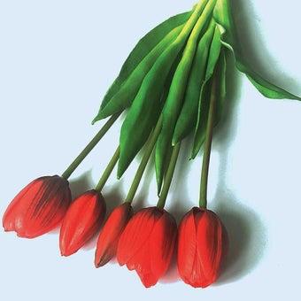 KDD ดอกไม้ประดิษฐ์#C044ทิวลิปมัดเล็กสีแดง1