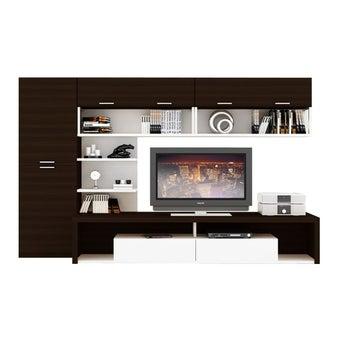 ชุดวางทีวีและตู้โชว์ ขนาดใหญ่กว่า 240 ซม. รุ่น Maximus สีเข้มลายไม้ธรรมชาติ-00