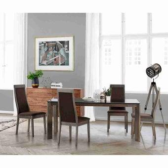 โต๊ะทานอาหาร โต๊ะอาหารขาไม้ท๊อปกระจก รุ่น Istan สีสีน้ำตาล-SB Design Square