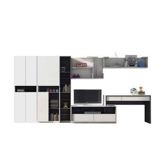 ชุดวางทีวีและตู้โชว์ รุ่น Minimo โอ๊คอ่อน สีขาว01