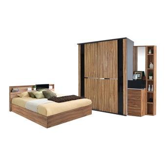 ชุดห้องนอน ชุดห้องนอนขนาด 6 ฟุต รุ่น Rex สีสีน้ำตาล-SB Design Square