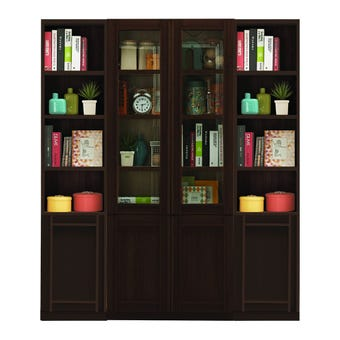 ห้องรับแขก ชุดตู้เก็บของหนังสือ รุ่น Lybrary สีสีเข้มลายไม้ธรรมชาติ-SB Design Square