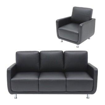 โซฟาหนังสังเคราะห์ โซฟา 3 ที่นั่ง รุ่น Kappa สีสีดำ-SB Design Square