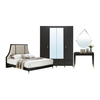 ชุดห้องนอน ชุดห้องนอนขนาด 5 ฟุต รุ่น Michala สีสีเข้มลายไม้ธรรมชาติ-SB Design Square