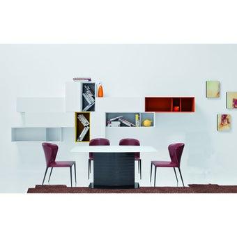 โต๊ะทานอาหาร โต๊ะอาหารขาไม้ท๊อปกระจก รุ่น Talost สีสีดำ-SB Design Square