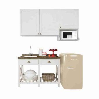 ห้องครัวขนาดกะทัดรัดและครัวสำเร็จรูป ขนาด 180 ซม. รุ่น Croissant สีขาว