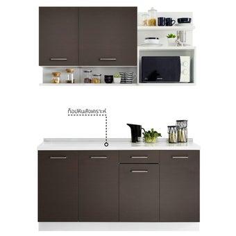 ห้องครัวขนาดกะทัดรัดและครัวสำเร็จรูป ขนาด 160 ซม. รุ่น Kourmet สีเข้มลายไม้ธรรมชาติ2