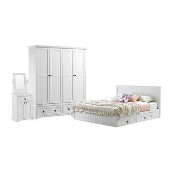 ชุดห้องนอน ชุดห้องนอนขนาด 6 ฟุต รุ่น Melona สีสีขาว-SB Design Square