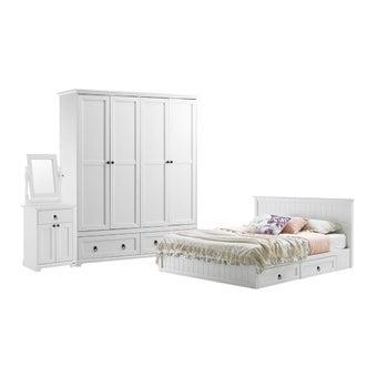 ชุดห้องนอน ชุดห้องนอนขนาด 5 ฟุต รุ่น Melona สีสีขาว-SB Design Square