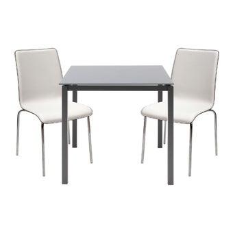 โต๊ะทานอาหาร โต๊ะอาหารขาเหล็กท๊อปกระจก รุ่น Ruber สีสีเทา-SB Design Square