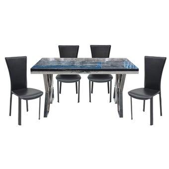 ชุดโต๊ะอาหาร รุ่น Apollo สีดำ &เก้าอี้ Yindee สีดำ x401