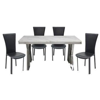 ชุดโต๊ะอาหาร รุ่น Apollo สีขาว & เก้าอี้Yindeeสีดำx401