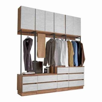 ชุดห้องนอน ตู้เสื้อผ้าบานเปิด รุ่น Bricko สีสีน้ำตาล-SB Design Square