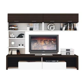 ชุดวางทีวีและตู้โชว์ ขนาด 240 ซม. รุ่น Maximus สีเข้มลายไม้ธรรมชาติ01