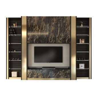 ชุดวางทีวีและตู้โชว์ รุ่น Scenario สีเข้มลายไม้ธรรมชาติ-00