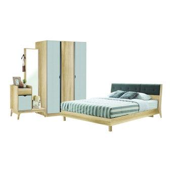 ชุดห้องนอน ชุดห้องนอนขนาด 6 ฟุต รุ่น Bente สีสีโอ๊ค-SB Design Square