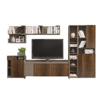 ชุดวางทีวี ชุดวางทีวีสำเร็จรูป รุ่น Spazz สีสีเข้มลายไม้ธรรมชาติ-SB Design Square