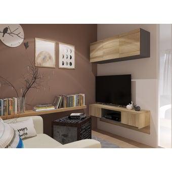 ชุดวางทีวีและตู้โชว์ ขนาด 120 ซม. รุ่น Urbani สีไม้อ่อน2