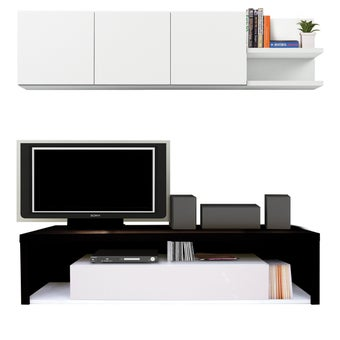 ชุดวางทีวีและตู้โชว์ ขนาด 180 ซม. รุ่น Maximus สีเข้มลายไม้ธรรมชาติ-00