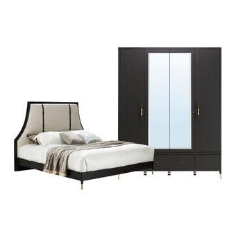 ชุดห้องนอน ชุดห้องนอนขนาด 6 ฟุต รุ่น Michala สีสีเข้มลายไม้ธรรมชาติ-SB Design Square