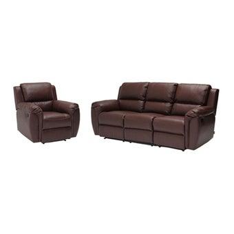 เก้าอี้พักผ่อนหนังสังเคราะห์ เก้าอี้พักผ่อน 3 ที่นั่ง รุ่น Soly สีสีน้ำตาล-SB Design Square