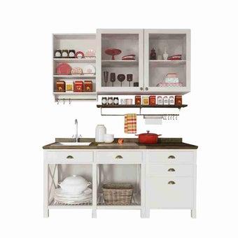 ห้องครัวขนาดกะทัดรัดและครัวสำเร็จรูป ขนาด 180 ซม. รุ่น Croissant สีขาว เซ็ต2-01