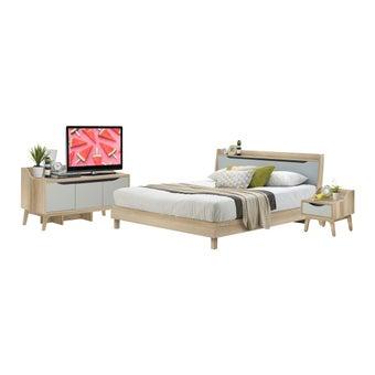 ชุดห้องนอน ชุดห้องนอนขนาด 6 ฟุต รุ่น Backus สีสีโอ๊ค-SB Design Square