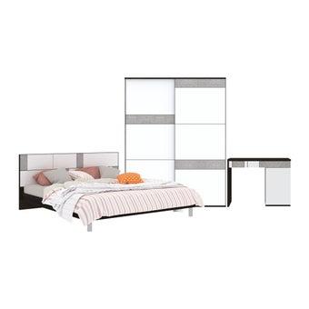 ชุดห้องนอน ชุดห้องนอนขนาด 6 ฟุต รุ่น Palazzo สีสีเข้มลายไม้ธรรมชาติ-SB Design Square