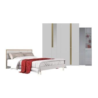 ชุดห้องนอน ชุดห้องนอนขนาด 6 ฟุต รุ่น Glaze สีสีขาว-SB Design Square