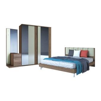 ชุดห้องนอน ชุดห้องนอนขนาด 6 ฟุต รุ่น Tazzina สีสีลายไม้ธรรมชาติ-SB Design Square