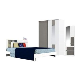 ชุดห้องนอน ชุดห้องนอนขนาด 5 ฟุต รุ่น Spazz สีสีขาว-SB Design Square