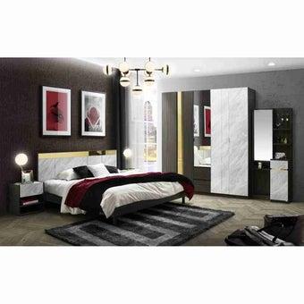 ชุดห้องนอน ชุดห้องนอนขนาด 5 ฟุต รุ่น Reiss สีสีเข้มลายไม้ธรรมชาติ-SB Design Square
