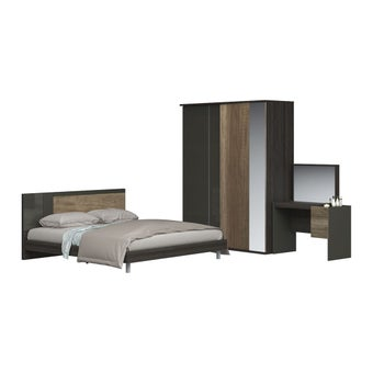 ชุดห้องนอน ชุดห้องนอนขนาด 5 ฟุต รุ่น Leno สีสีอ่อนลายไม้ธรรมชาติ-SB Design Square