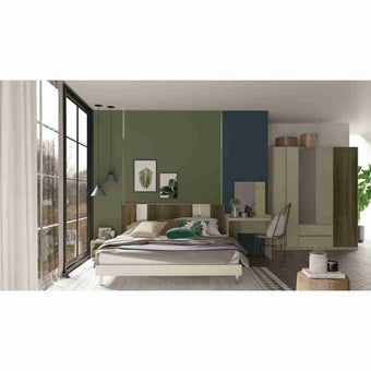 ชุดห้องนอน ชุดห้องนอนขนาด 5 ฟุต รุ่น Estano สีสีเข้มลายไม้ธรรมชาติ-SB Design Square