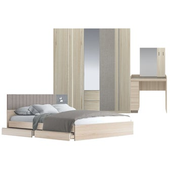 ชุดห้องนอน ขนาด 6 ฟุต รุ่น Econi สีโอ๊คอ่อน-00