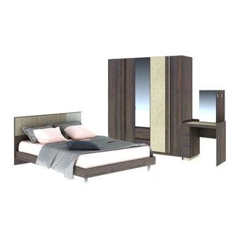 ชุดห้องนอน ชุดห้องนอนขนาด 6 ฟุต รุ่น Econi สีสีเข้มลายไม้ธรรมชาติ-SB Design Square