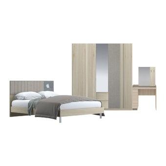 ชุดห้องนอน ชุดห้องนอนขนาด 6 ฟุต รุ่น Econi สีสีโอ๊คอ่อน-SB Design Square