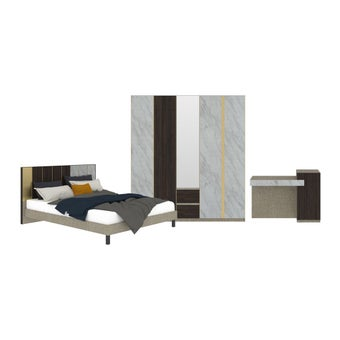 ชุดห้องนอน ชุดห้องนอนขนาด 6 ฟุต รุ่น Aureus สีสีขาว-SB Design Square