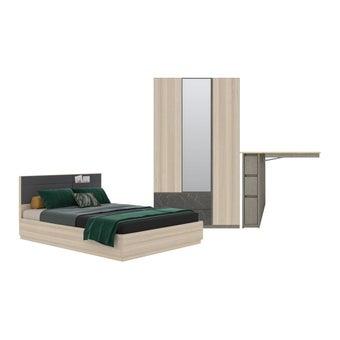 ชุดห้องนอน ชุดห้องนอนขนาด 5 ฟุต รุ่น Minimo สีสีโอ๊คอ่อน-SB Design Square