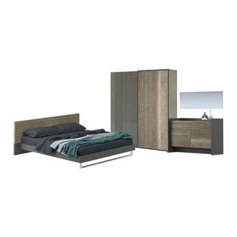 ชุดห้องนอน ชุดห้องนอนขนาด 6 ฟุต รุ่น Onyx สีสีอ่อนลายไม้ธรรมชาติ-SB Design Square