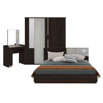 ชุดห้องนอน ขนาด 6 ฟุต รุ่น Econi-B สีเข้มลายไม้ธรรมชาติ-00