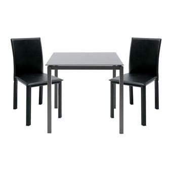 โต๊ะทานอาหาร โต๊ะอาหารขาเหล็กท๊อปกระจก-SB Design Square