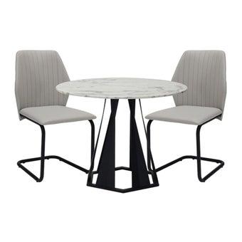 โต๊ะทานอาหาร โต๊ะอาหารขาเหล็กท๊อปหิน รุ่น Hershy-SB Design Square