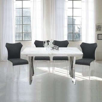 โต๊ะอาหารขาเหล็กท๊อปหิน Contemporary-01