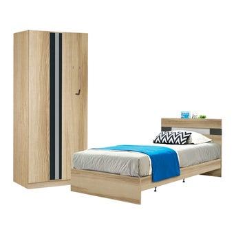 ชุดห้องนอน ขนาด 3.5 ฟุต รุ่น Harper ตู้บานเปิด 90 ซม. สีโอ๊ค