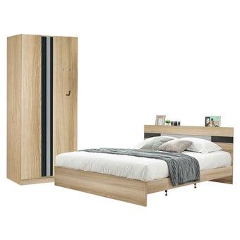 ชุดห้องนอน ขนาด 6 ฟุต รุ่น Harper ตู้บานเปิด 90 ซม. สีโอ๊ค-00
